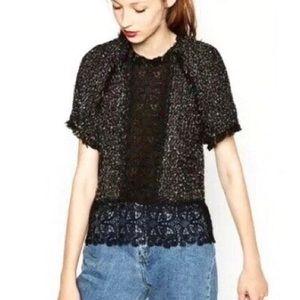 Zara Black Boucle Lace Detail Short Sleeve Blouse